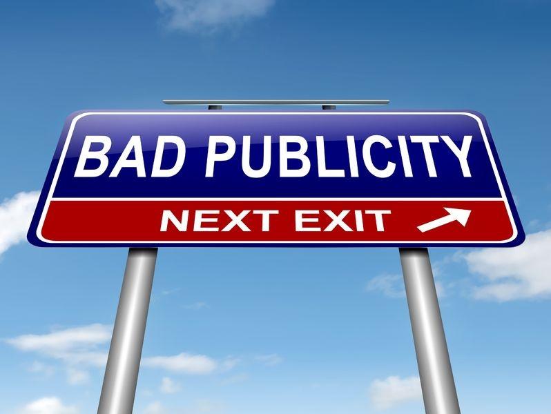 Bad publicity road sign