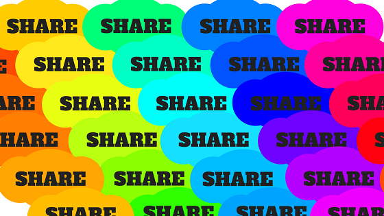 The word share on different coloured backgrounds